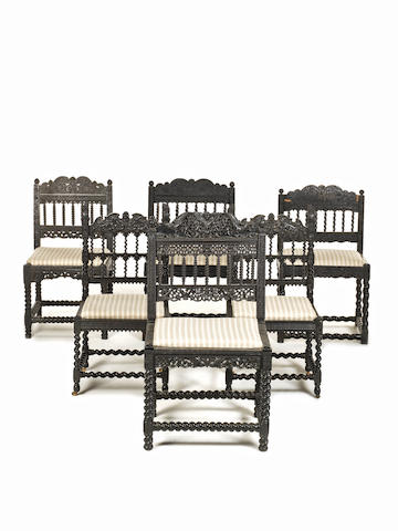 A group of six Coromandel coast ebony side chairs four 17th century and a pair 19th century Southern India
