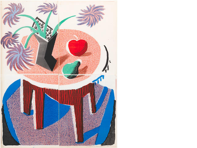 David Hockney R.A. (British, born 1937) Flowers, apple and pear on a table Colour handprint, 1986, printed on four sheets of Arches using a copy machine, signed and numbered 26/59 in pencil, 560 x 430mm (22 x 17in)(SH)