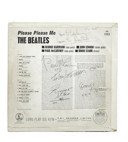 An autographed copy of the album 'Please Please Me',
