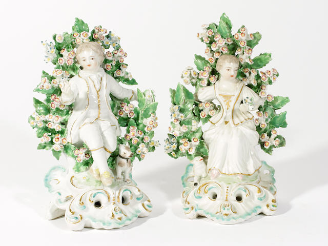 A pair of Derby figures of a boy and girl, circa 1770-80