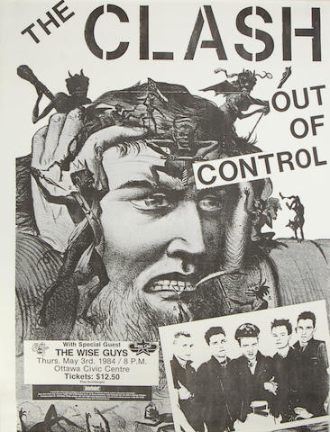 A concert poster for The Clash 'Out Of Control', Ottowa Civic Center, 3rd May 1984,