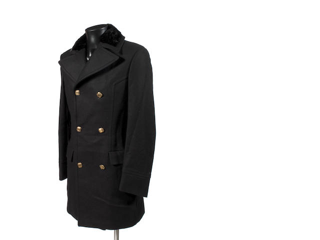 Roberto Cavalli three-quarter length black overcoat with plush fur trim collar