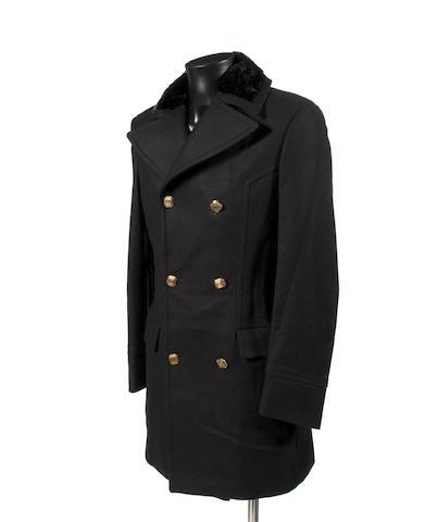 Roberto Cavalli three-quarter length black overcoat with plush fur trim collar