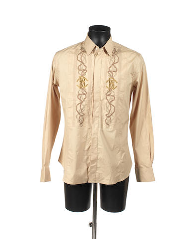 Beige Roberto Cavalli shirt embellished with gold embroidery and cufflinks