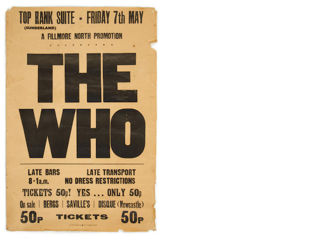 A poster for The Who at the Top Rank Suite, Sunderland, 7th May 1971,