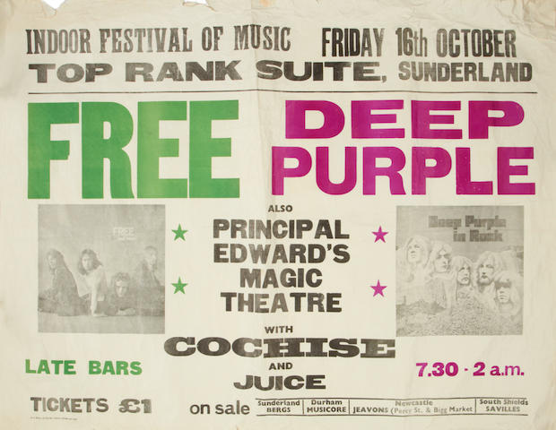 A poster for Free and Deep Purple at the Top Rank Suite, Sunderland, and related contract,