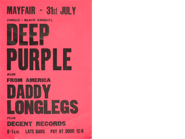 A Deep Purple concert poster,