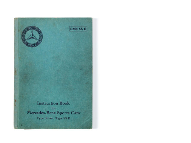 A Mercedes-Benz Sports Cars instruction boook, for SS and SSK models, English text, June 1931,