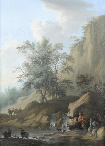 Franz de Paula Ferg (Vienna 1689-1740 London) Goatherds and their flock resting before a waterfall; and Travellers resting beside a country path, a pair each 28.2 x 20.4cm (11 1/8 x 8 1/16in). (2)