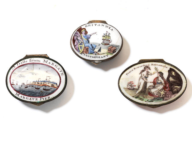 Three good South Staffordshire enamel patch boxes, circa 1800-20