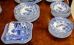 A part Rogers pearlware dinner and supper service, transfer printed in the 'Monopteros' pattern comprising:- 20 x 19cm plates; 11 x 25cm plates; 11 x 21cm plates; 2 22cm x 22cm vegetable dishes and covers; 2 29cm rectangular bowls; 2 26cm rectangular bowls; 2 26cm rectangular bowls; 2 21cm rectangular bowls; 2 23cm square bowls; 47cm serving plate; 2 33cm serving plates; 2 30cm serving plates; 2 26cm serving plates; tureen cover and stand, sauce ladle, some with minor damages and staining.