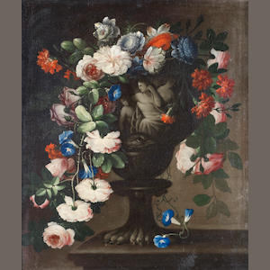 Francesco della Questa (Naples 1639-1723) Tulips, peonies, jasmine and other flowers in a classical carved stone urn, before an open landscape; and Roses, carnations, convulvulus and other flowers   (2).