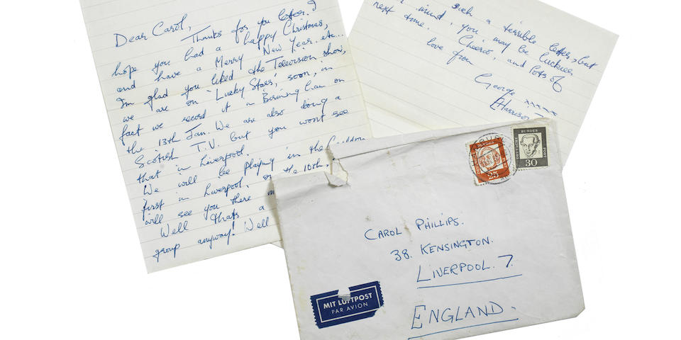 A letter from George Harrison, sent from the Star Club, Hamburg, dated 28/12/62,