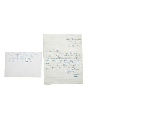 A letter from George Harrison,  probably 1962,