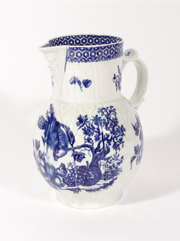A Worcester cabbage leaf mask jug, circa 1770