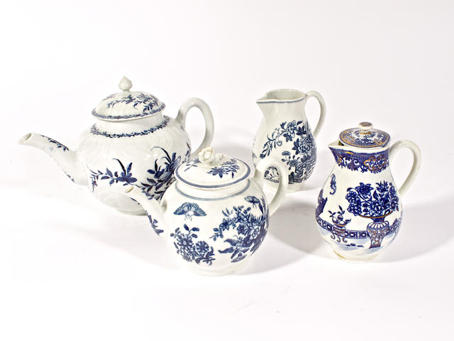 Two Worcester teapots and covers and two sparrowbeak jugs, circa 1760-70