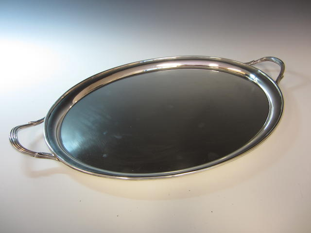A silver oval two handled tray  by Barker Ellis Silver Co, Birmingham 1970