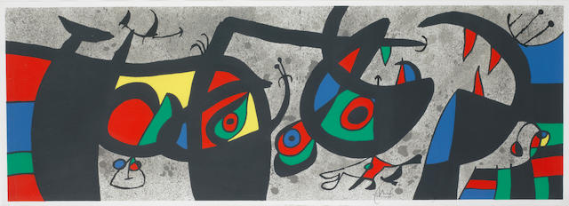 Joan Miro (Spanish, 1893-1983) Le Lezard aux Plumes d'or III (Cramer 148; Mourlot 793) Lithograph in colours, 1971, on wove, signed and numbered 1/100 in pencil, printed by Mourlot, Paris, published by Louis Broder, Paris, with full margins, 350 x 1000mm (13 3/4 x 39 3/8in) (SH)