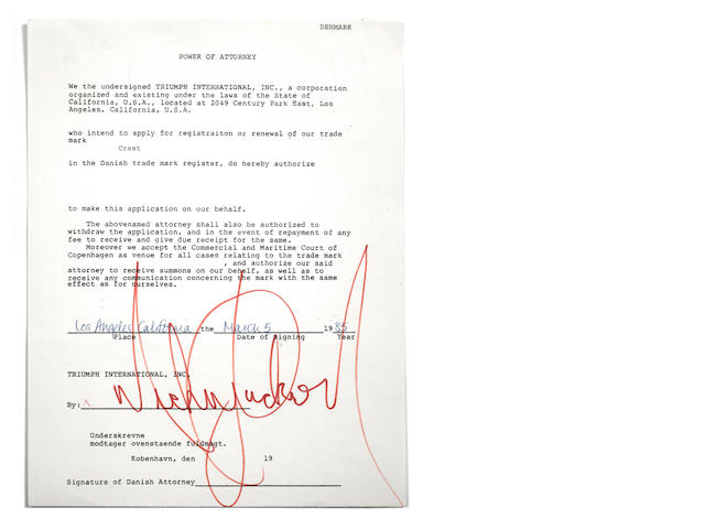 Michael Jackson: an autographed Power Of Attorney, 1985,