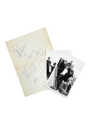 A set of Rolling Stones autographs and two unpublished photographs, August 1964,