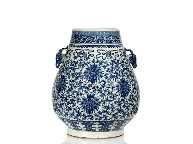 A Chinese large blue and white vase