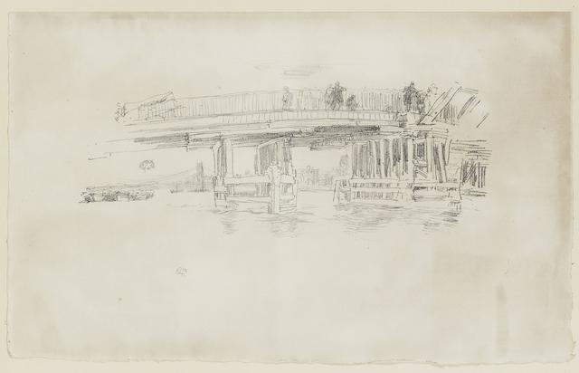 James Abbott McNeill Whistler (American, 1834-1903) Old Battersea Bridge Lithograph, 1879-87, a good impression of the second and final state, on Van Gelder Zonen laid, the full sheet with deckle edges to three sides, signed with the butterfly monogramme in pencil lower right, 285 x 457mm (11 1/4 x 19in)(SH) unframed