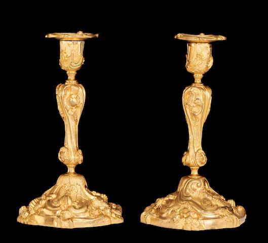 Pr Rococo style gilt candlesticks