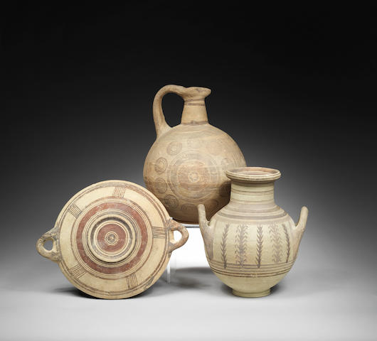 Three Cypriot bichrome pottery vessels 3
