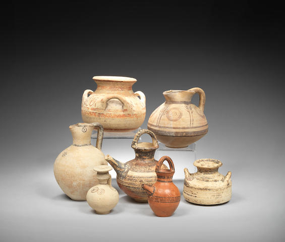 Seven small Cypriot and Mycenaean/Minoan pottery vessels 7