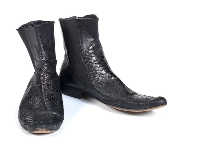 A pair of Roberto Cavalli black leather boots,