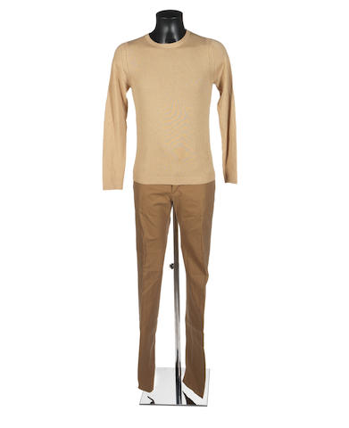 Group lot 1 - Roberto Cavalli beige jumper; RC beige trousers; RC brown shirt