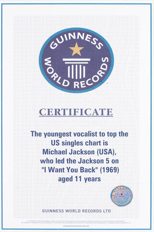 A Guinness World Records certificate, 2005,