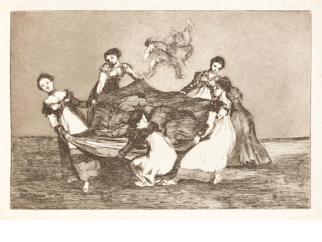 Francisco de Goya (Spanish, 1746-1828) Los Proverbios The complete set of eighteen etchings with aquatint and drypoint, 1864, good impressions from the Third Edition of 100 copies,(Harris' edition 'a' before the change to the title page), on strong wove paper, published by the Real Academia de Nobles Artes de San Fernando, Madrid, 1891, the full sheets, bound with the title page, but without the original covers; (this differs from Harris in the paper type and sheet size), 240 x 355mm (9 3/8 x 14in)(PL); (315 x 490mm (12 3/8 x 19 1/4in)(overall) Vol