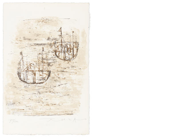 Zao Wou-Ki (French, born 1921) Les Petits Bateaux (Riviere 86) Lithograph printed in colours, on wove, signed and numbered 179/200 in pencil, printed by E et J Desjobert, Paris, published by Cadby-Birch Gallery, New York, with full margins, 250 x 164mm (9 7/8 x 6 1/2in) (SH)