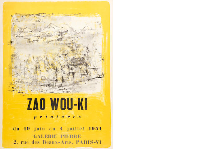 Zao Wou-Ki (French, born 1921) Affiche (Riviere 87) Lithograph printed in colours, 1953, on wove, from the edition of 50, printed by La Hune, Paris, published by E et J Desjobert, Paris, with margins, 660 x 500mm (26 x 19 5/8in)