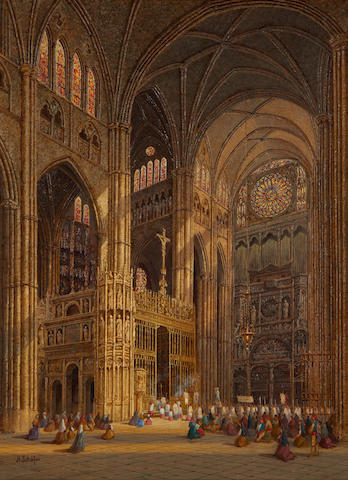 Henry Schafer (British, died circa 1900) Cathedral interior, Toledo