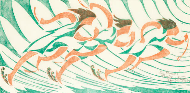 Cyril Edward Power (British, London 1872-1951) Runners Linocut printed in ventian red and viridian, c.1930, on buff oriental laid tissue, signed, titled and numbered 10/50 in pencil, with margins, 174 x 350mm (6 7/8 x 13 6/8in)(B)