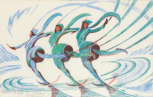 Cyril Edward Power (British, London 1872-1951) Skaters (CEP 29) Linocut printed in spectrum red, light cobalt blue and viridian, c.1932, on biff oriental laid tissue, signed, titled and numbered 51/60 in pencil, with margins, 198 x 316mm (7 3/4 x 12 3/8in) (B)