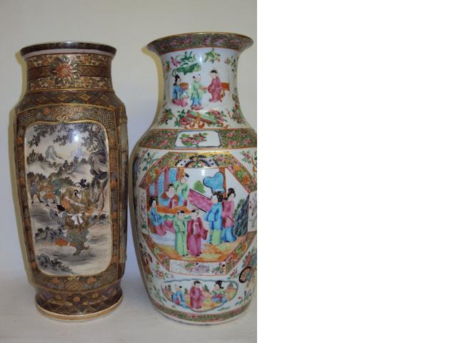 A Japanese Satsuma vase and a Chinese Canton famille rose vase