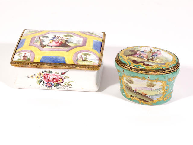 Two South Staffordshire enamel snuff boxes, circa 1765-75