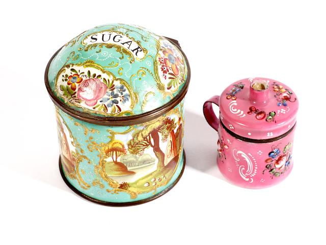 A South Staffordshire enamel sugar container and a bougie box, circa 1770