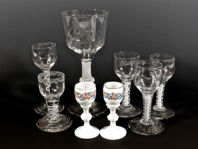 Six opaque-twist wine glasses and two opaque glass cordials, late 18th century