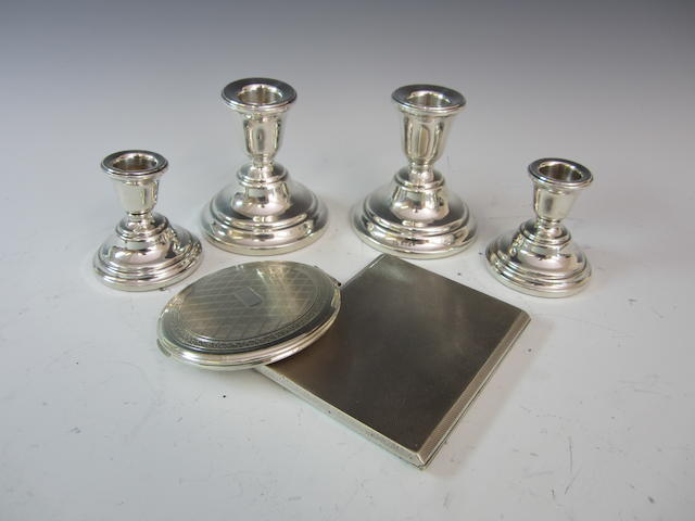 A silver pair of squat candlesticks Birmingham 1966  (6)