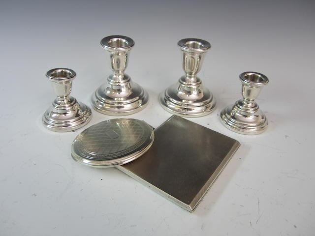 A silver pair of squat candlesticks Birmingham 1966  (6)