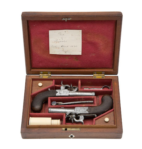 A Cased Pair Of 120-Bore Box-Lock Pocket Pistols For 'Top-Hat' Percussion Caps