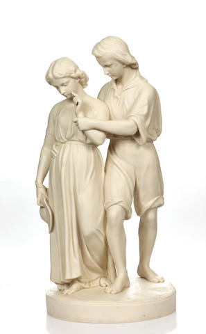 A Copeland parian figure group, circa 1850-60