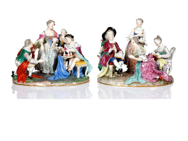 A pair of Meissen figural groups