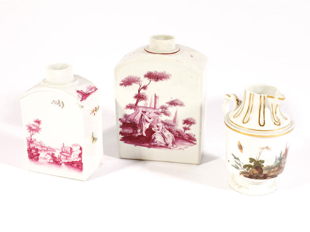 Two German tea canisters and a cream jug, mid 18th century
