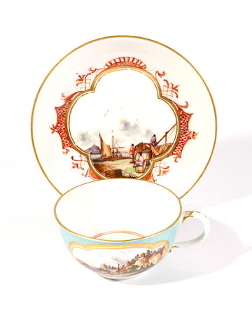 A Meissen colour-ground teacup and saucer, circa 1740-50