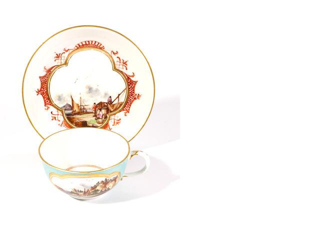 A Meissen teacup and saucer, circa 1760-70